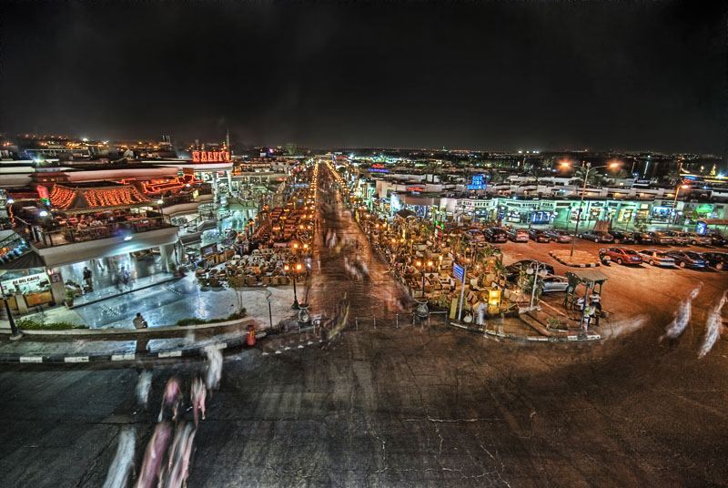 Downtown Sharm El Sheikh at night.