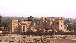 View of the Madinet Habu Temple from the Sheikh Aly Hotel