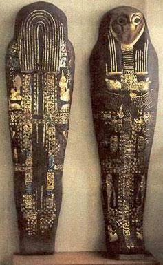 Sheshonq I's cartonnage  coffin from Tanis now in the Cairo Museum