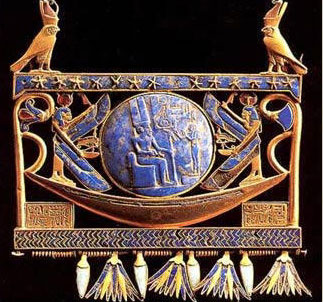 Gold Pectoral with solar Boat of Sheshonq II, Click for more info