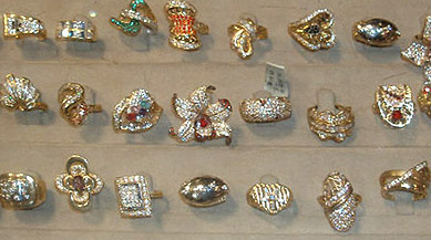 Fancy gold rings, some with diamonds and other gems, in the El Sagha district of Cairo