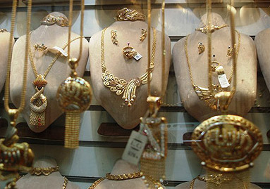 Large, ornate gold necklaces  in the El Sagha district in Cairo