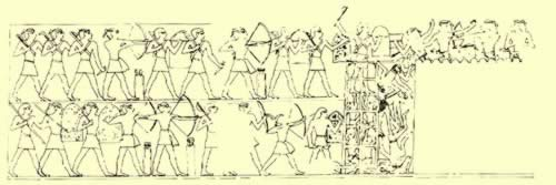 Scene showing soldiers using a mobile siege tower from the tomb of general Infef at Thebes