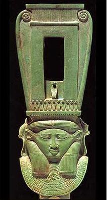 A fairly good example of a naos-Style Sistrum dating to the 26th Dynasty and made of faience