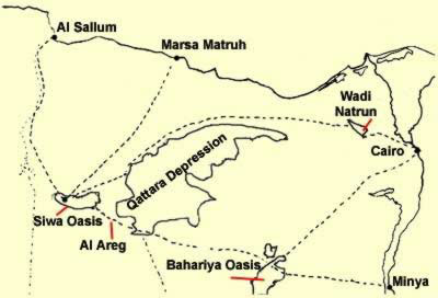 A map of the routes to the Siwa Oasis, though only a few are still really used