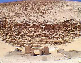 A view of the Bent Pyramid's mortuary temple