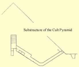 A sideview drawing of the internal structure of the Bent Pyramid in Egypt
