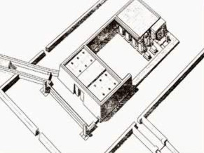 A drawing of the Mortuary temple of the Bent Pyramid
