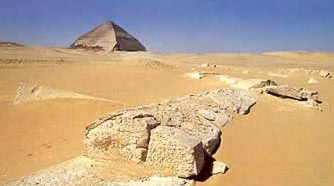 The Bent Pyramid as Viewed from the Ruins of the Valley Temple