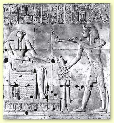 Seti I offers incense and a libation to the enthroned Sokar, from his temple at Abydos