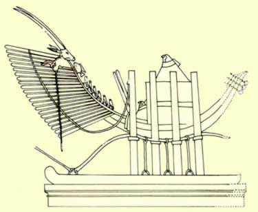 The henu barque of Sokar from a 19th Dynasty relief in the temple of Seti I at Abydos