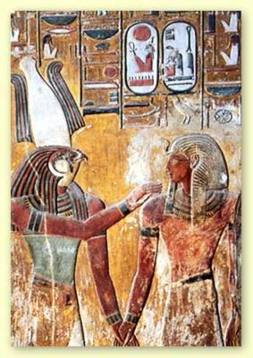Seti I before Sokar in his tomb on the West Bank of Thebes in the Valley of the Kings in Egypt