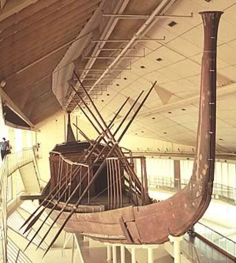 A view of Khufu's boat in its Museum at Giza