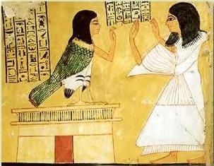 Inherkhau and his Ba from a painting in his tomb on the West Bank at Luxor