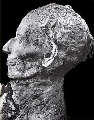 The face of the mummy of Yuya, who's daughter Tiye married  Amenhotep III