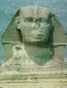 The damaged face of the Sphinx, smiling inscrutable smile.