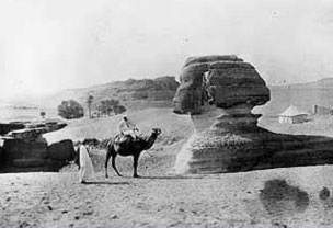 A somewhat older photo showing the Great Sphinx almost completely buried