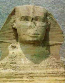 The rather square face of the Great Sphinx at Giza