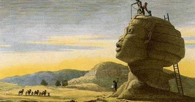 A painting of Napoleon's scholars taking measurements of the Great Sphinx