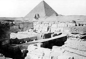 The Sphinx seen over the valley temple of Khafre