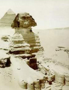 The Sphinx with the Dream Stela under cover