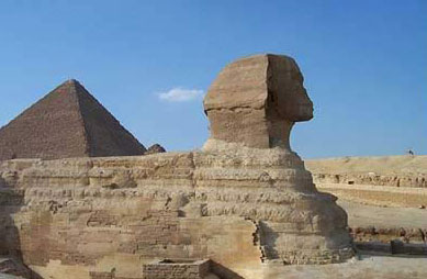 A view of the Great Sphinx showing the repair work done to its right side - Photo by Diaa Khalil