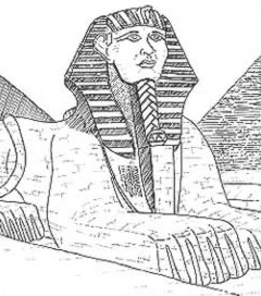 A sketch of the Great Sphinx as it might have appeared in about 2,500 BC