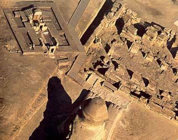 A view of the Sphinx from above, with the New Kingdom temple (upper left) and Old Kingdom Temple (upper right)