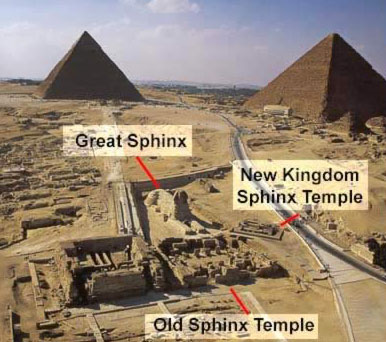 View of the Giza Plateau with the Sphinx, and the Old and New Kingdom Temples