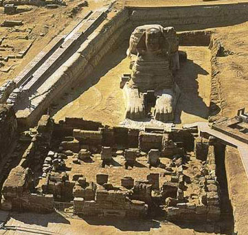 Another view of the Great Sphinx before its Old Kingdom Temple