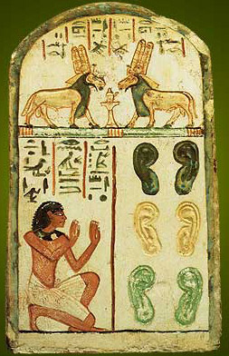 The stela of Bai, dating to the 19th Dynasty and originating at Deir el-Medina, is a very good example of a stela with ears