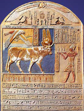 A stela of Ptolemy V showing an offering scene to a sacred bull. This one is not from Saqqara, but rather shows the Buchis bull which was sacred to Montu