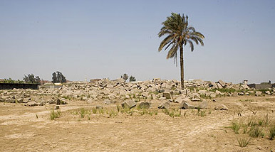 The rubble mound of Behbeit el-Haggar