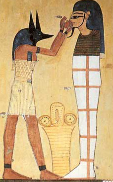 Opening of the Mouth ritual from the tomb Inherkha at Deir el-Medina. Note the ritualistic Anubis mask of the priest