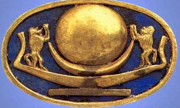 This ring, with a gold sun disk on the sun Barque and with two baboons, symbolic of the sun god to either side, sits on a blue faience (another type of important material)  background, obviously symbolizing the sky