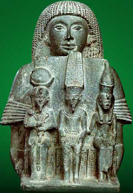 Another grouping of three gods, known as the Theban Triad, consisted of Amun, Mut and and Khonsu, here head by the First Priest of Amun, Ramessunakht