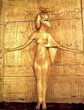 Statues of gods or goddesses, such as this one protecting Tutankhamun, were frequently made of gold, or gold gilded.