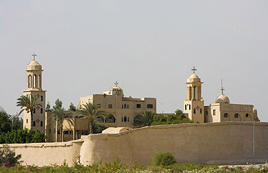A closer view of the Monastery of the Syrians from outside the walls