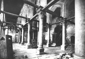 Dating to about 1900, this photo shows the interior of the prayer hall