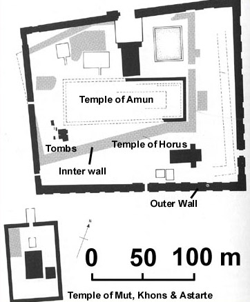 A plan of the main Temple of Amun and that of Mut, Khonsu and Astarte