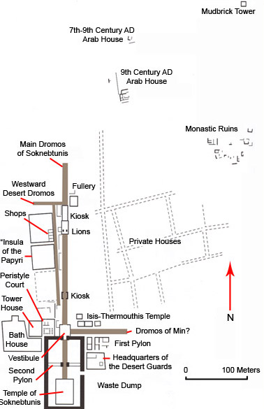 Ground plan of the temple  and parts of the ancient village of Tebtunis