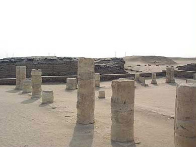 A closer view of the  temple ruins showing many columns