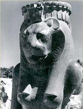One of the many statues of Sekhmet in the temple of Mut