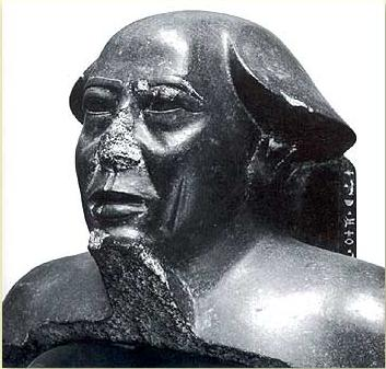 Head of a statue of Montuemhat discovered in the Mut temple complex but now in the Egyptian Antiquities Museum