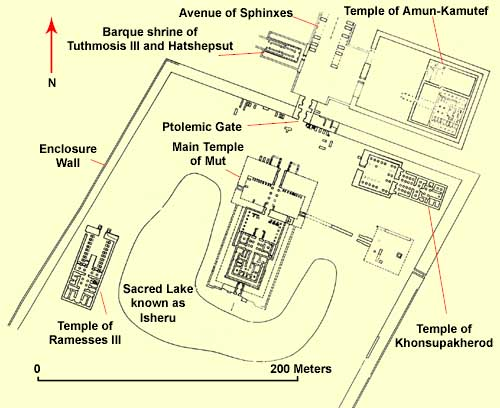 The overall plan of the Mut temple complex