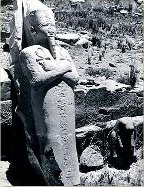 An early photograph of the Osirian Statue at the Temple of Khonsupakherod