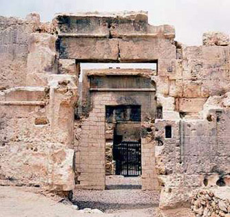 The facade of the Temple of the Oracle Proper in Siwa, Egypt