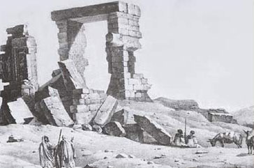 A Painting of the Temple of Umm Ubayda made during the 1800s