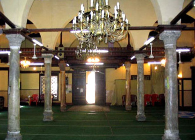The prayer hall of the Terbana Mosque in Alexandria, Egypt