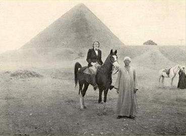Mrs. J. Wentworth Day on a cock-tailed Arab at the Great Pyramid of Giza